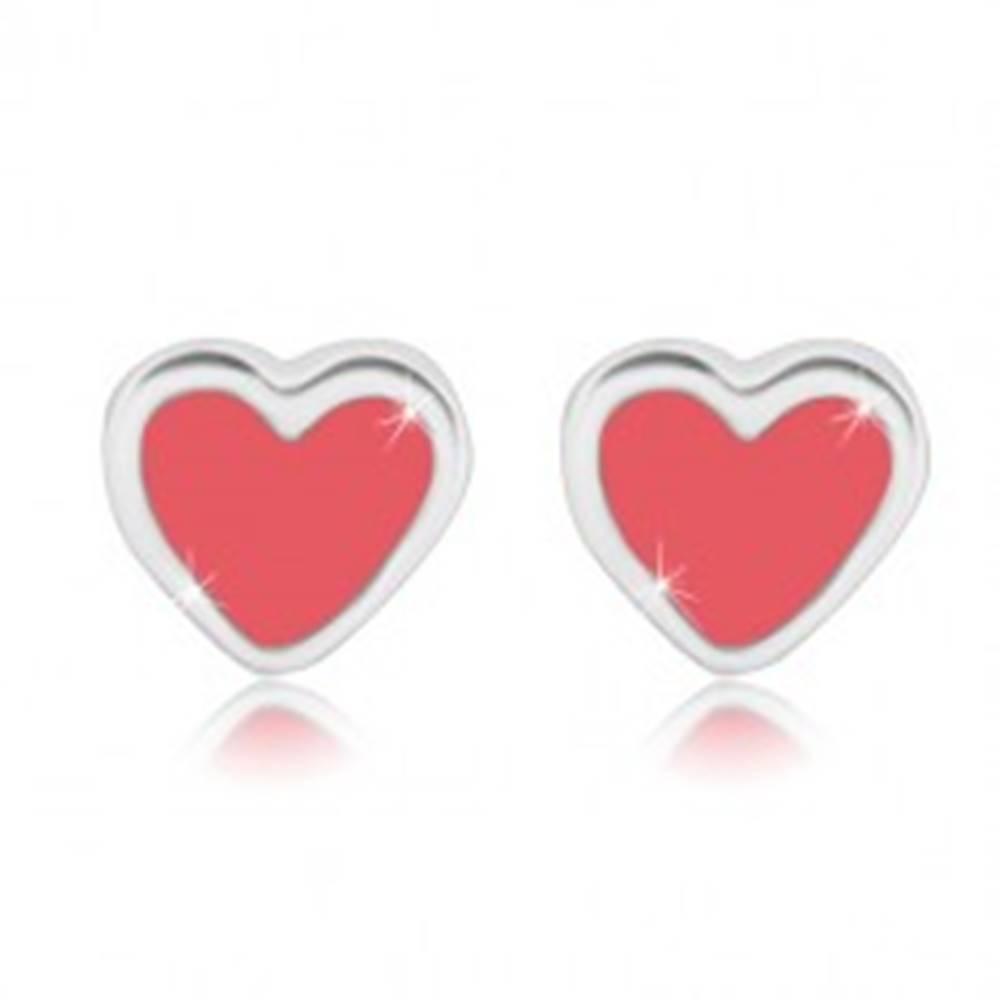 Šperky eshop Puzetové náušnice - symetrické srdiečko s ružovou glazúrou, striebro 925