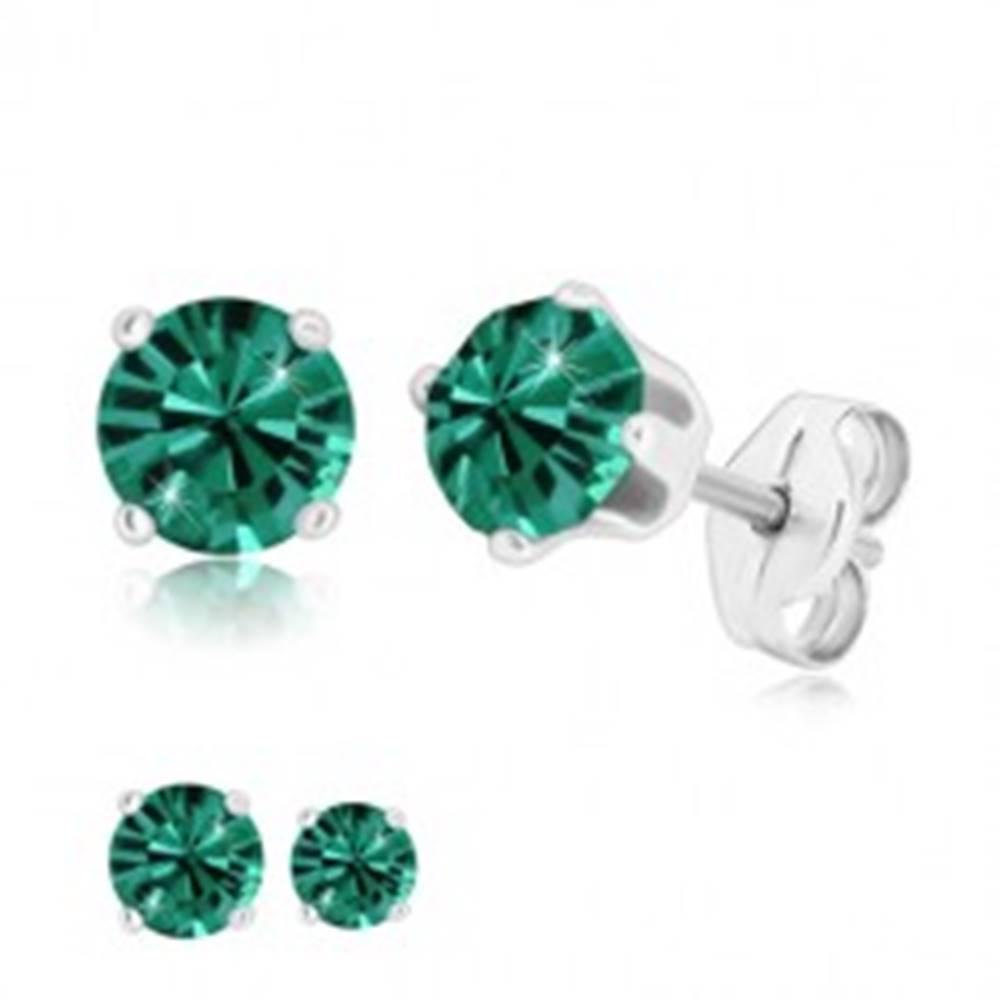 Šperky eshop Strieborné 925 náušnice - ligotavý zirkón v kotlíku, smaragdovozelený odtieň - Veľkosť zirkónu: 4 mm