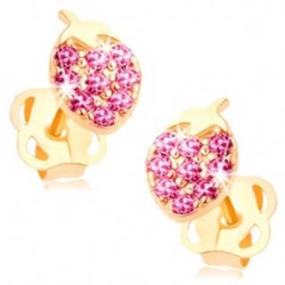 Náušnice v žltom 14K zlate - ligotavá jahôdka vykladaná ružovými zirkónmi
