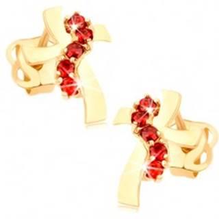 Náušnice zo žltého 14K zlata - kríž so zvlnenými ramenami, červené zirkóny