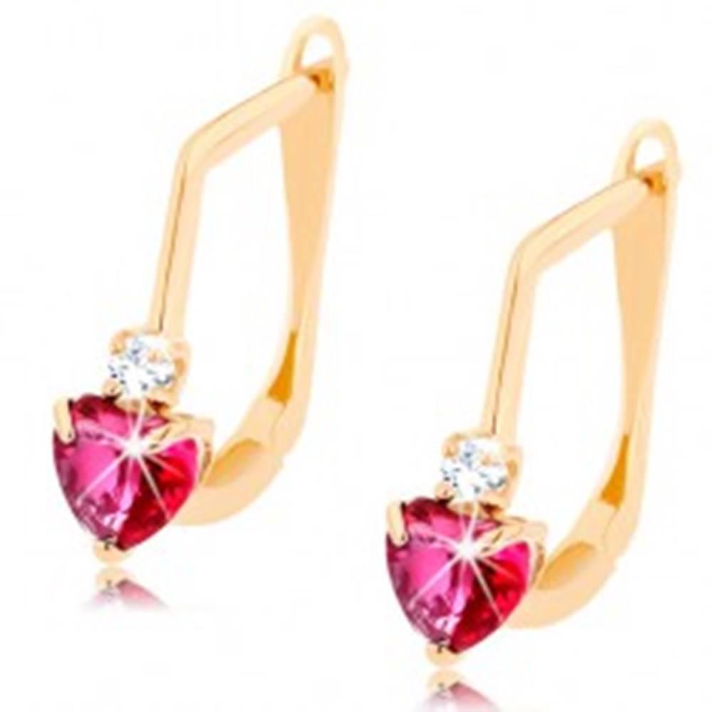 Šperky eshop Náušnice v žltom 14K zlate - tmavoružové rubínové srdiečko, číry zirkón