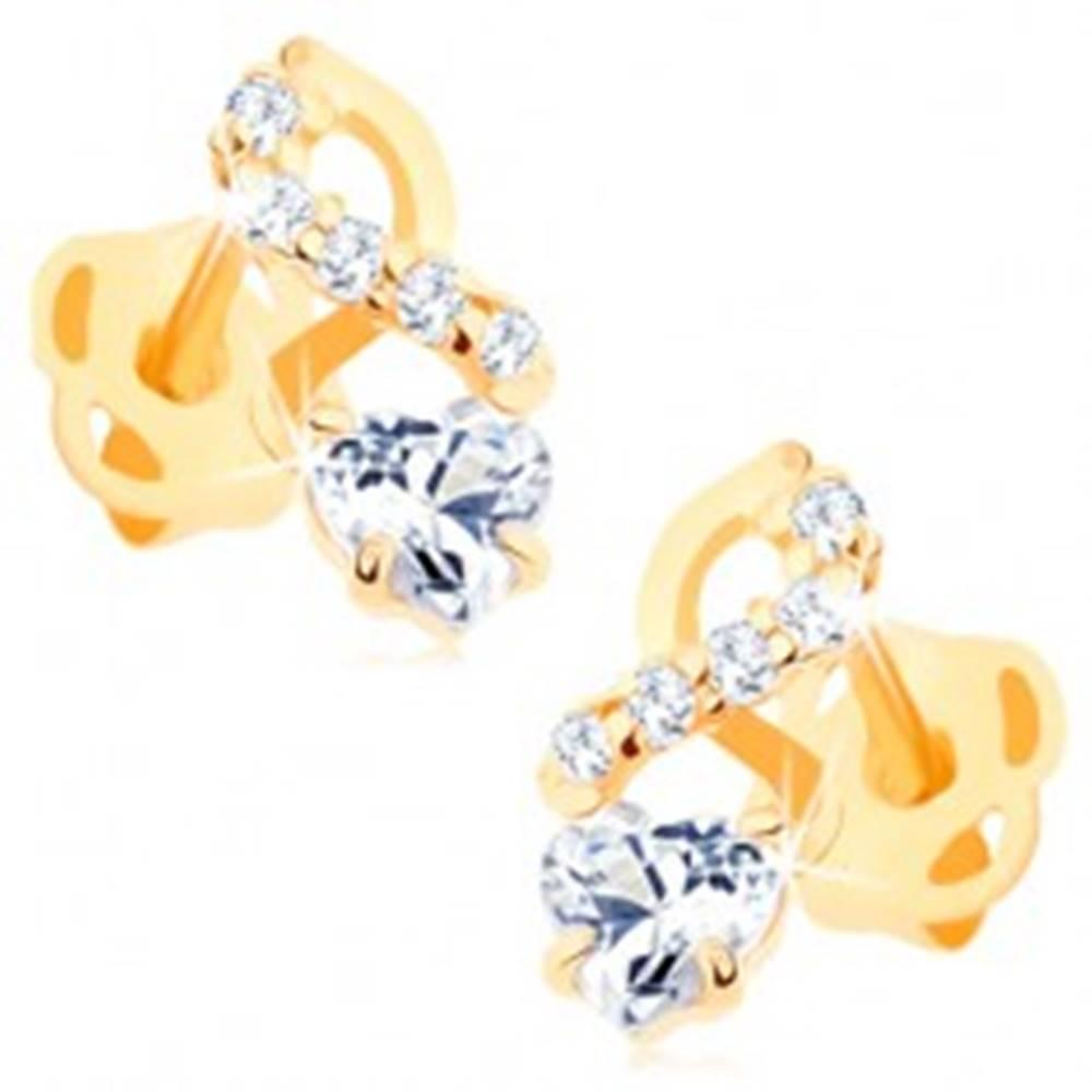 Šperky eshop Náušnice zo žltého 14K zlata - hladká a zirkónová vlnka, číre srdiečko
