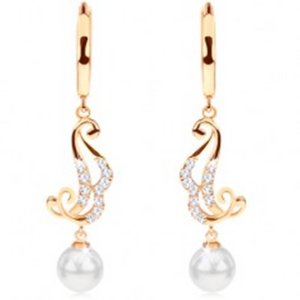 Šperky eshop Náušnice zo žltého 14K zlata - krúžok s visiacim ornamentom a bielou perlou
