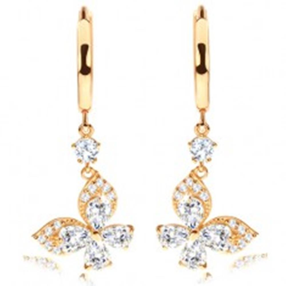 Šperky eshop Náušnice zo žltého 14K zlata - lesklý krúžok, číry zirkónový motýlik