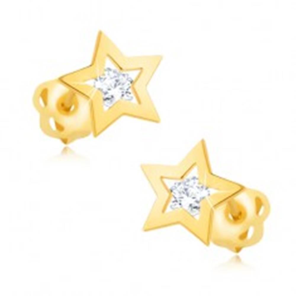 Šperky eshop Náušnice zo žltého 14K zlata - lesklý obrys hviezdičky, číry zirkón