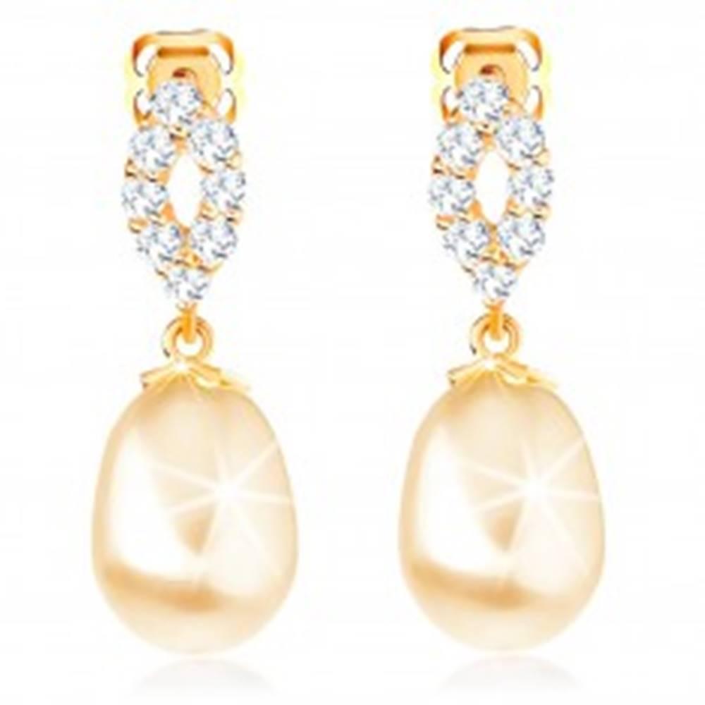 Šperky eshop Náušnice zo žltého 14K zlata - trblietavý obrys zrnka, oválna perla