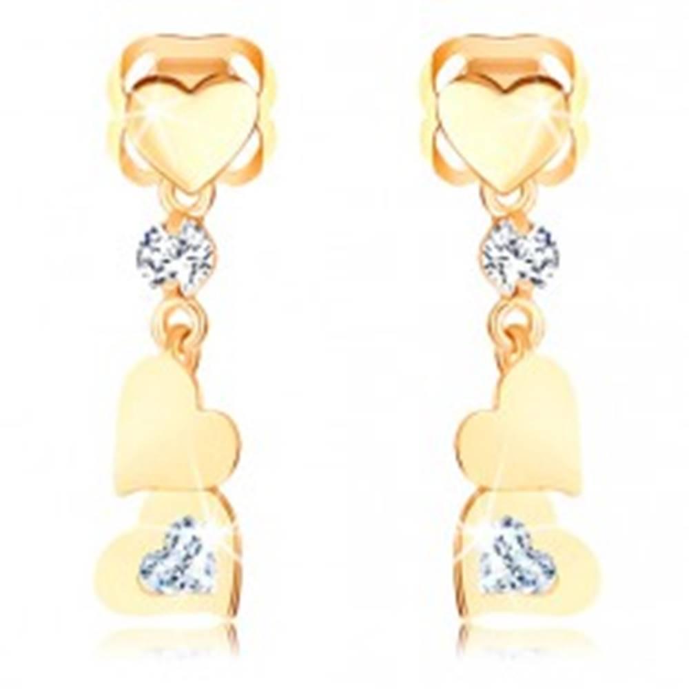 Šperky eshop Náušnice zo žltého 14K zlata - tri ploché srdiečka, zirkóniky čírej farby