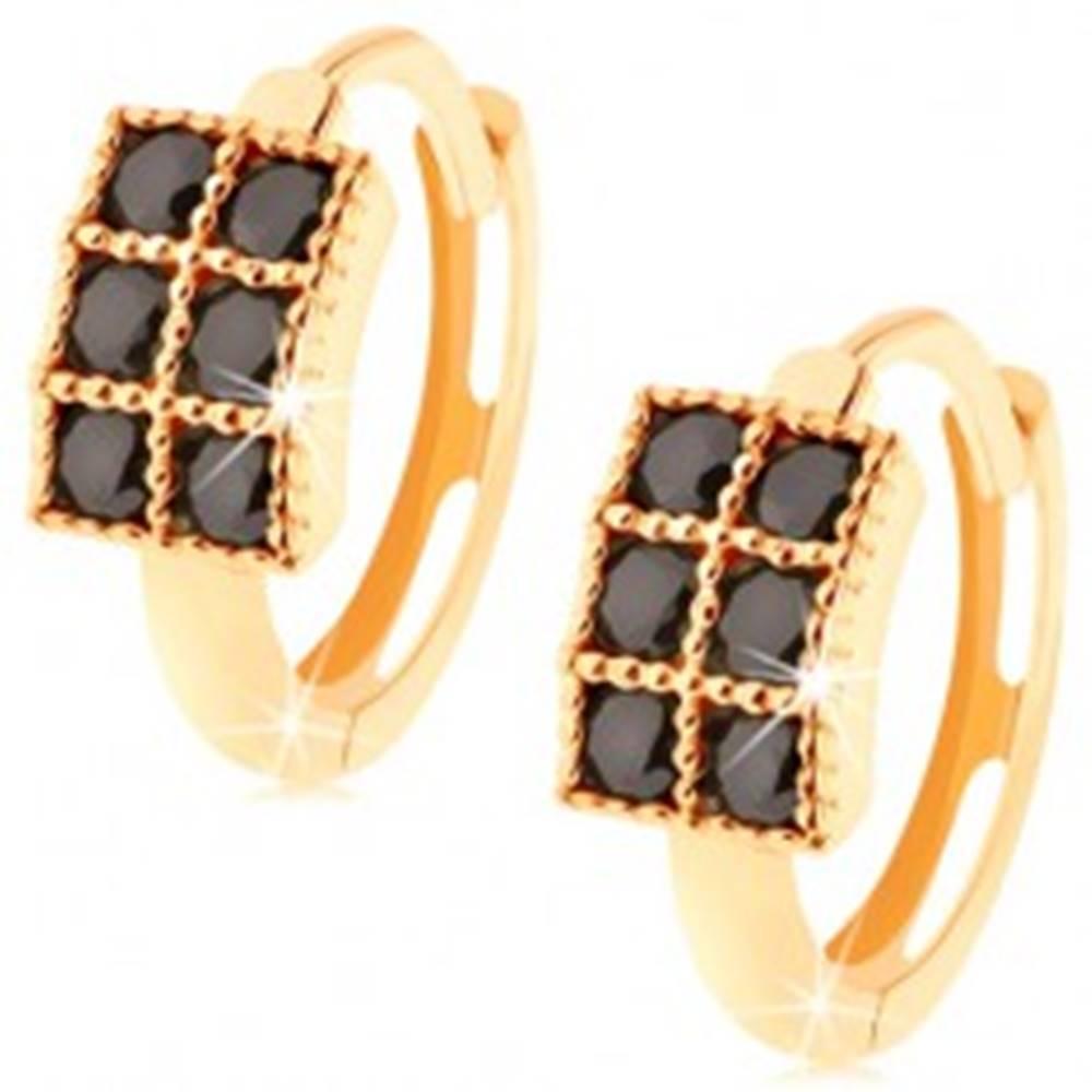 Šperky eshop Okrúhle náušnice zo žltého 14K zlata - obdĺžnik vykladaný čiernymi zirkónmi