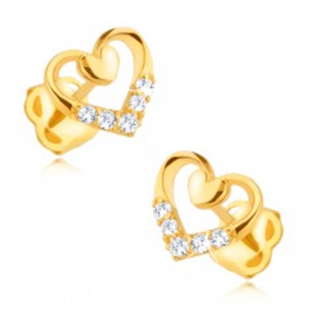 Šperky eshop Zlaté náušnice 585 - pravidelný obrys srdca s menším plným, zirkóny