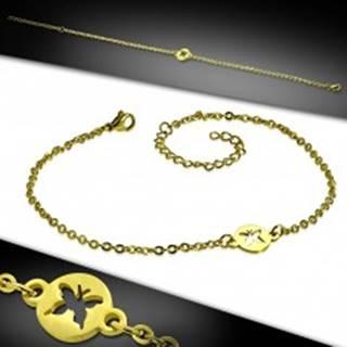 Oceľový náramok v zlatom farebnom prevedení - krúžok s výrezom motýľa