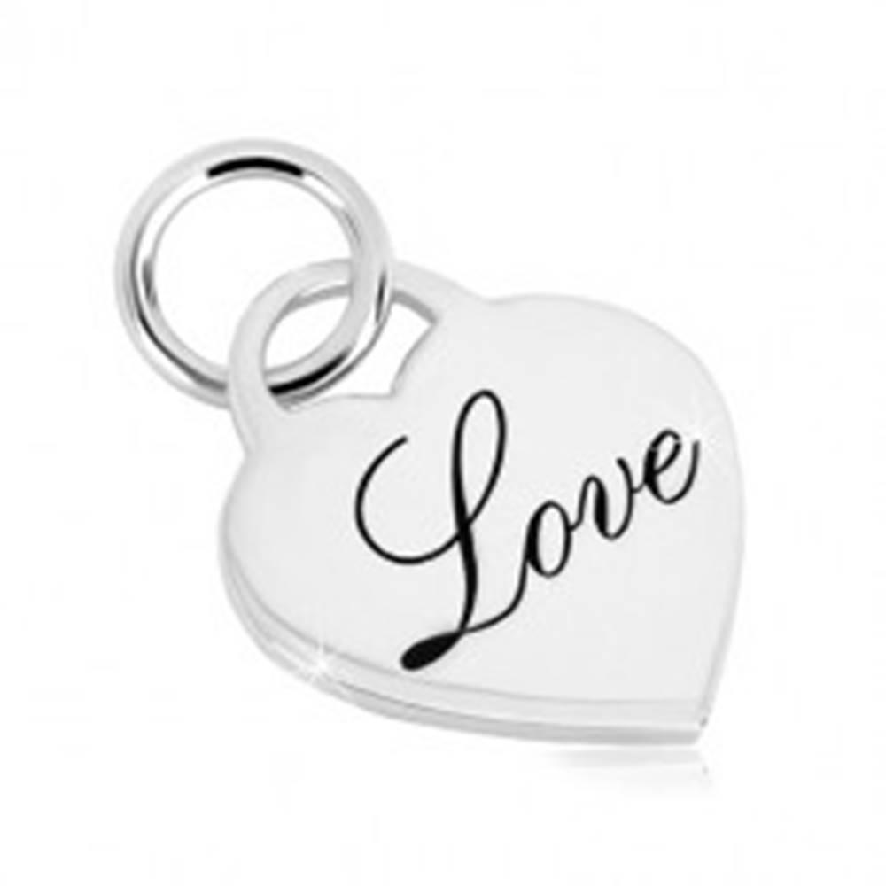"""Šperky eshop Prívesok zo striebra 925 - zrkadlovolesklý srdcový zámok, ozdobný nápis """"Love"""""""