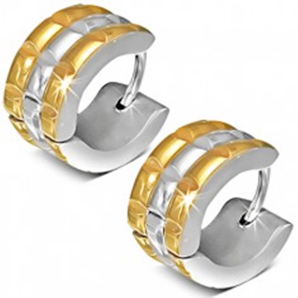 Šperky eshop Náušnice z ocele, okrúhle, zlato-strieborná farba, obdĺžnikový vzor