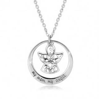 Strieborný 925 náhrdelník - kontúra kruhu, anjelik s ornamentmi, nápis