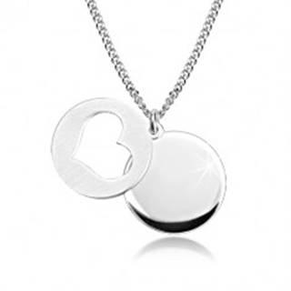 Strieborný 925 náhrdelník - lesklý kruh, matný kruh so srdiečkovým výrezom