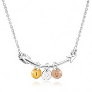 """Strieborný 925 náhrdelník - zahnutý šíp, trojfarebné krúžky """"I HEART YOU"""""""