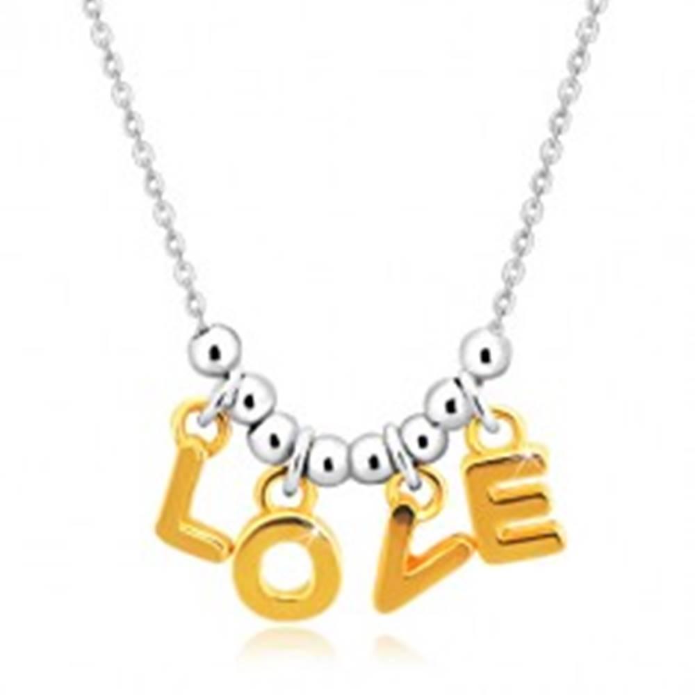 """Šperky eshop Náhrdelník zo striebra 925 - retiazka, písmená """"L-O-V-E"""" v zlatom odtieni a guľôčky"""
