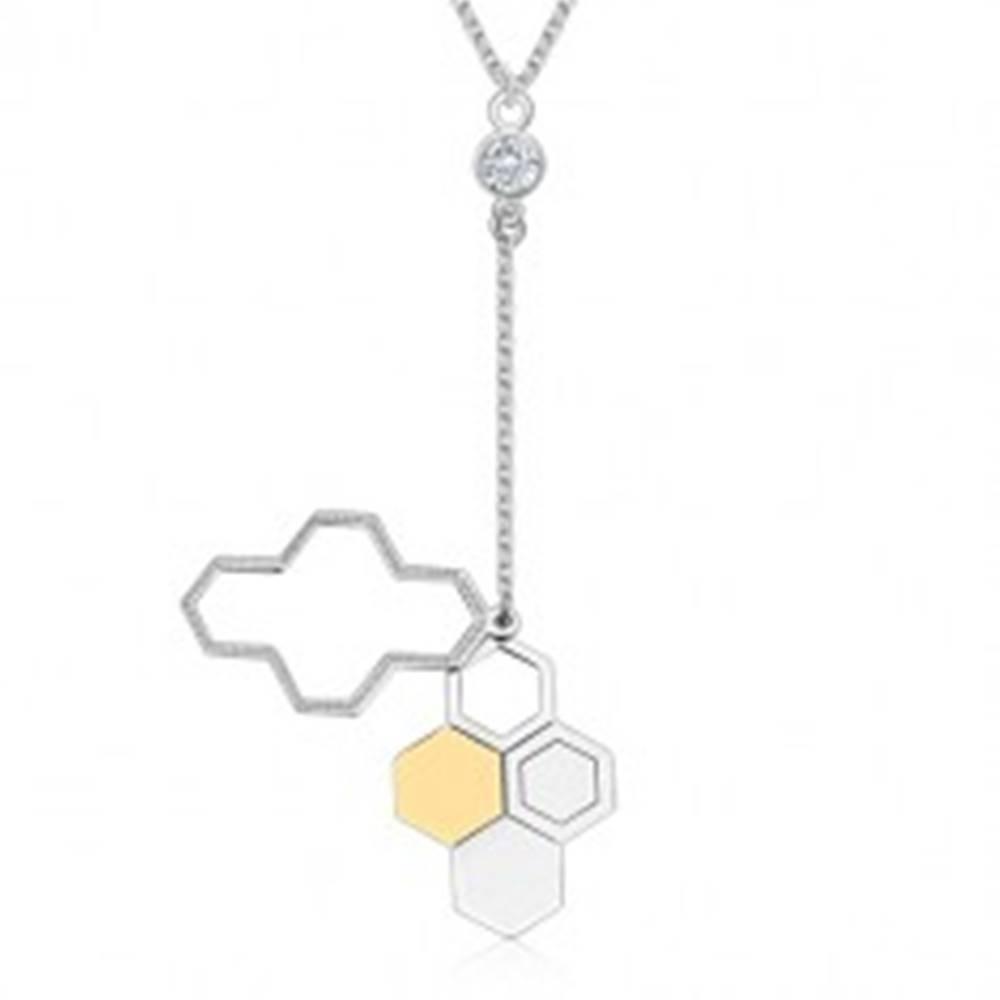 Šperky eshop Náhrdelník zo striebra 925 - včelí plást, transparentný zirkón, ligotavá retiazka