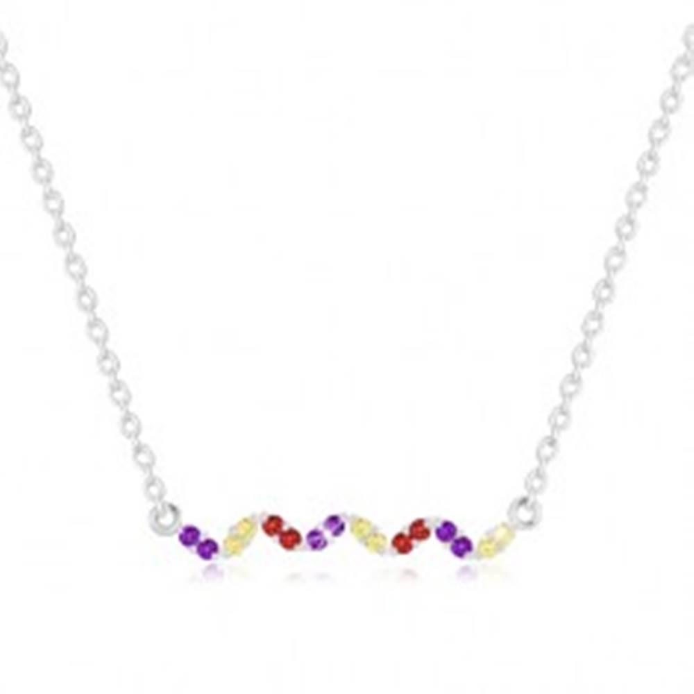 Šperky eshop Náhrdelník zo striebra 925 - vlnovka s farebnými zirkónmi, retiazka z oválnych očiek