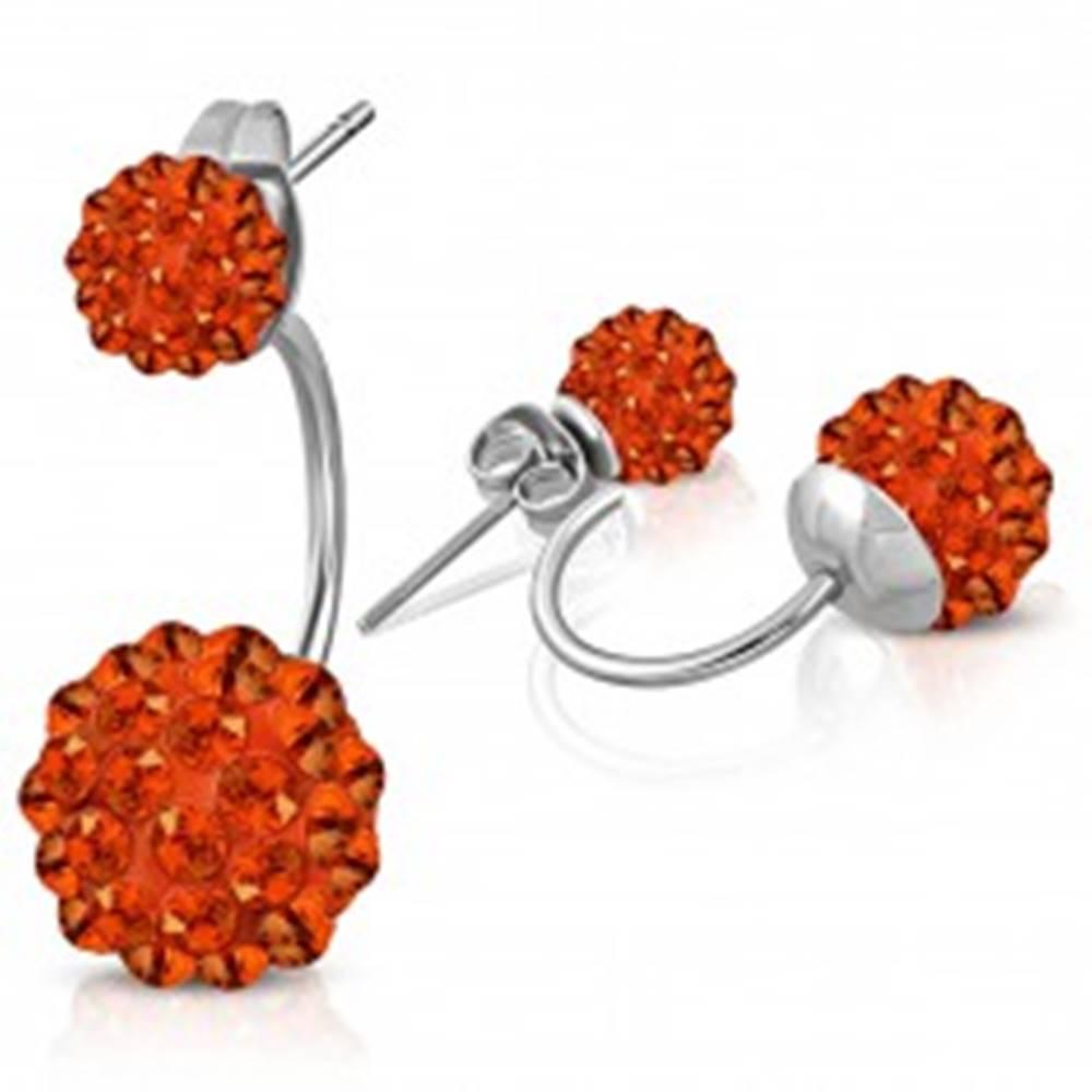 Šperky eshop Oceľové náušnice striebornej farby, dve Shamballa guľôčky s oranžovými zirkónmi