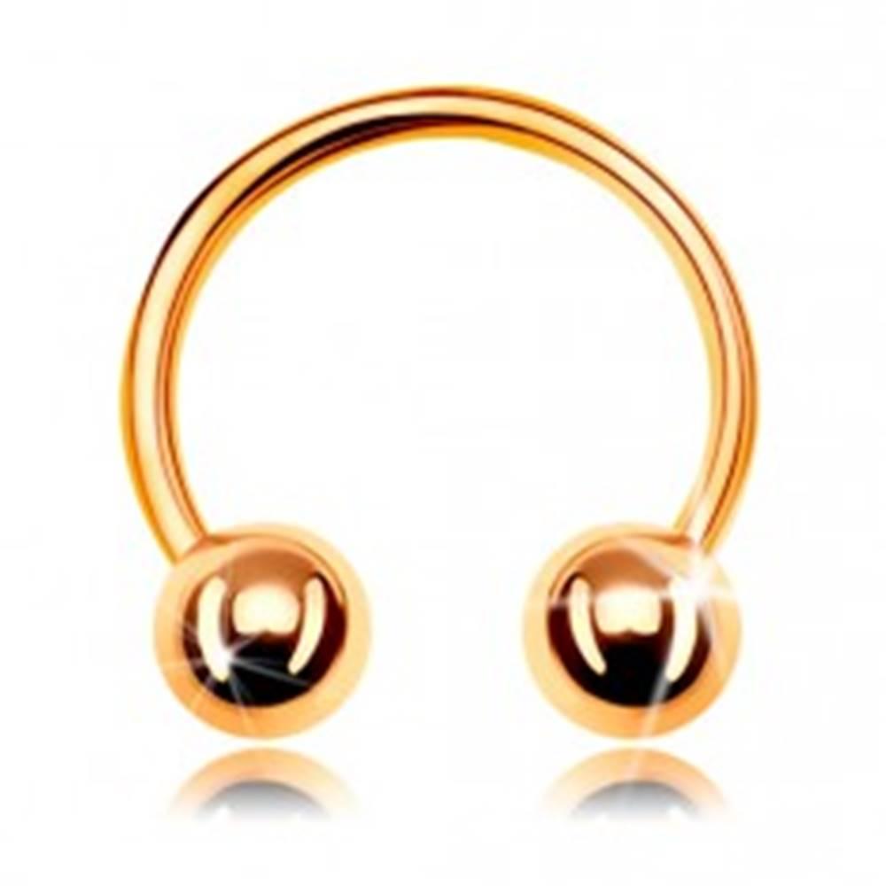 Šperky eshop Piercing zo žltého zlata 585, lesklá podkova ukončená dvoma guličkami