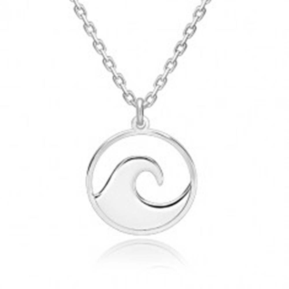 Šperky eshop Strieborný 925 náhrdelník - ligotavá retiazka, vyrezávaný kruh s hrebeňom vlny