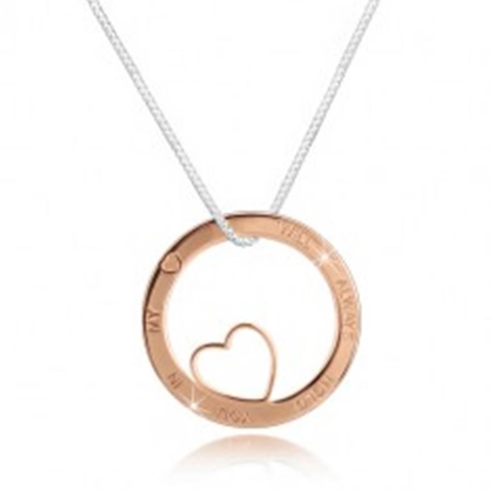 Šperky eshop Strieborný náhrdelník 925 - hranatá retiazka, kruh ružovozlatej farby s výrezom a nápisom