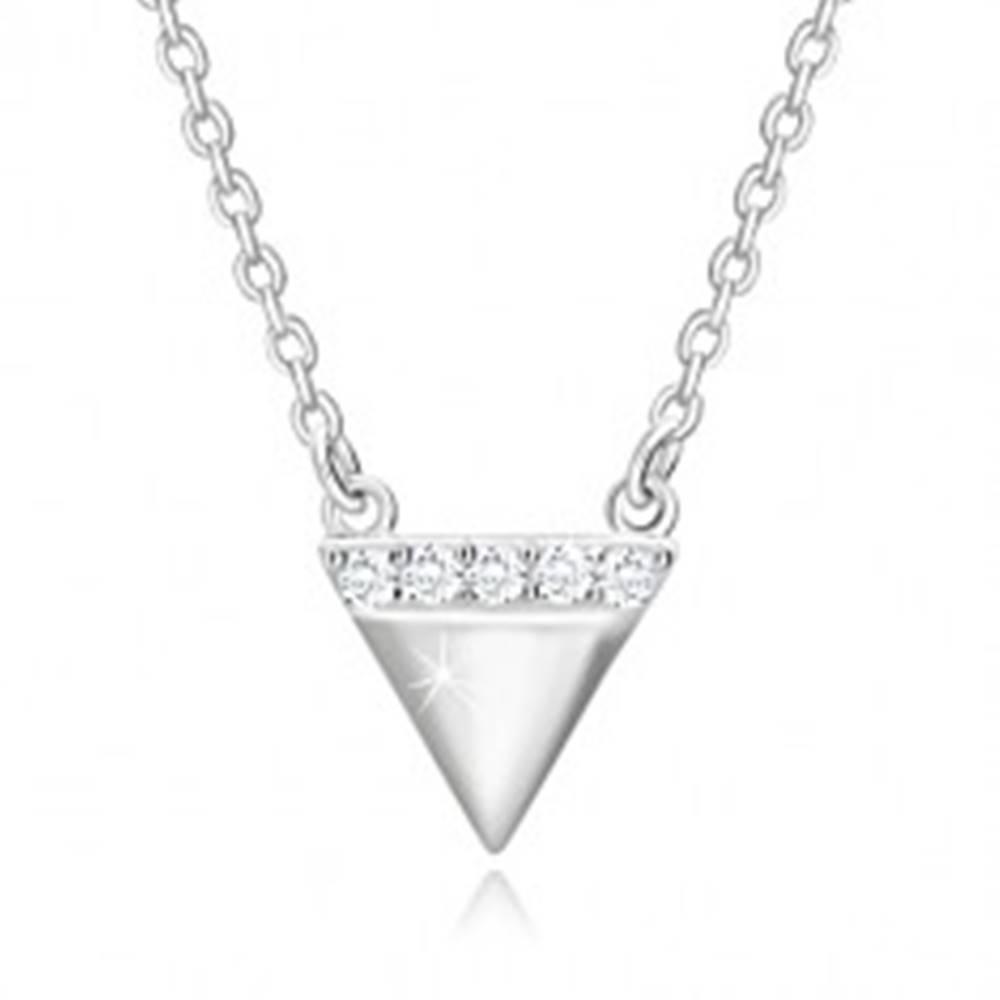 Šperky eshop Strieborný náhrdelník 925 - obrátený trojuholník, ligotavá zirkónová línia