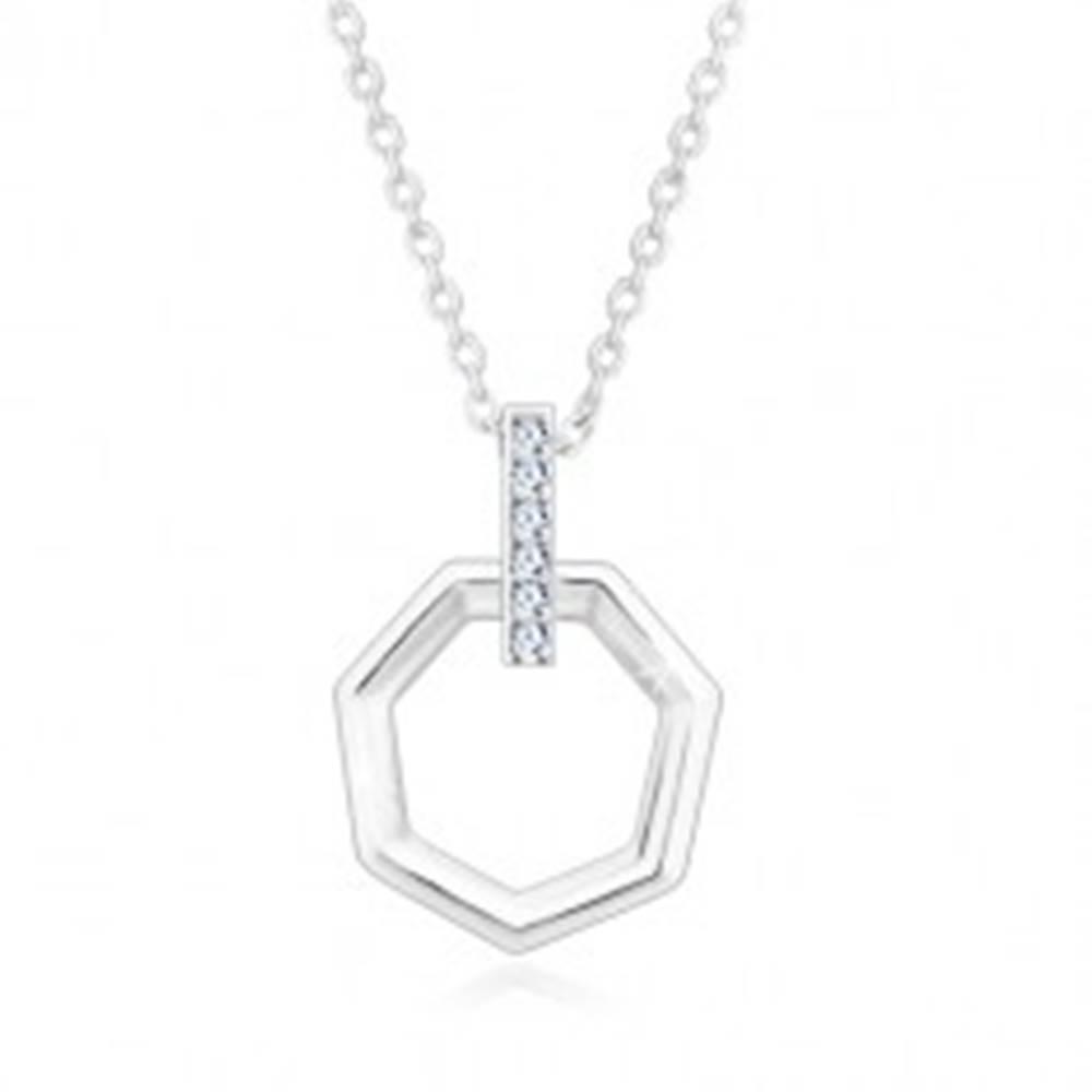 Šperky eshop Strieborný náhrdelník 925 - zvislá zirkónová línia a sedemuholník, retiazka