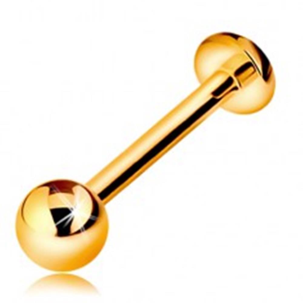 Šperky eshop Zlatý 14K piercing do pery alebo brady - labret s guličkou a kolieskom, 12 mm