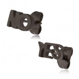 Čierne puzetové náušnice z ocele - YES a NO