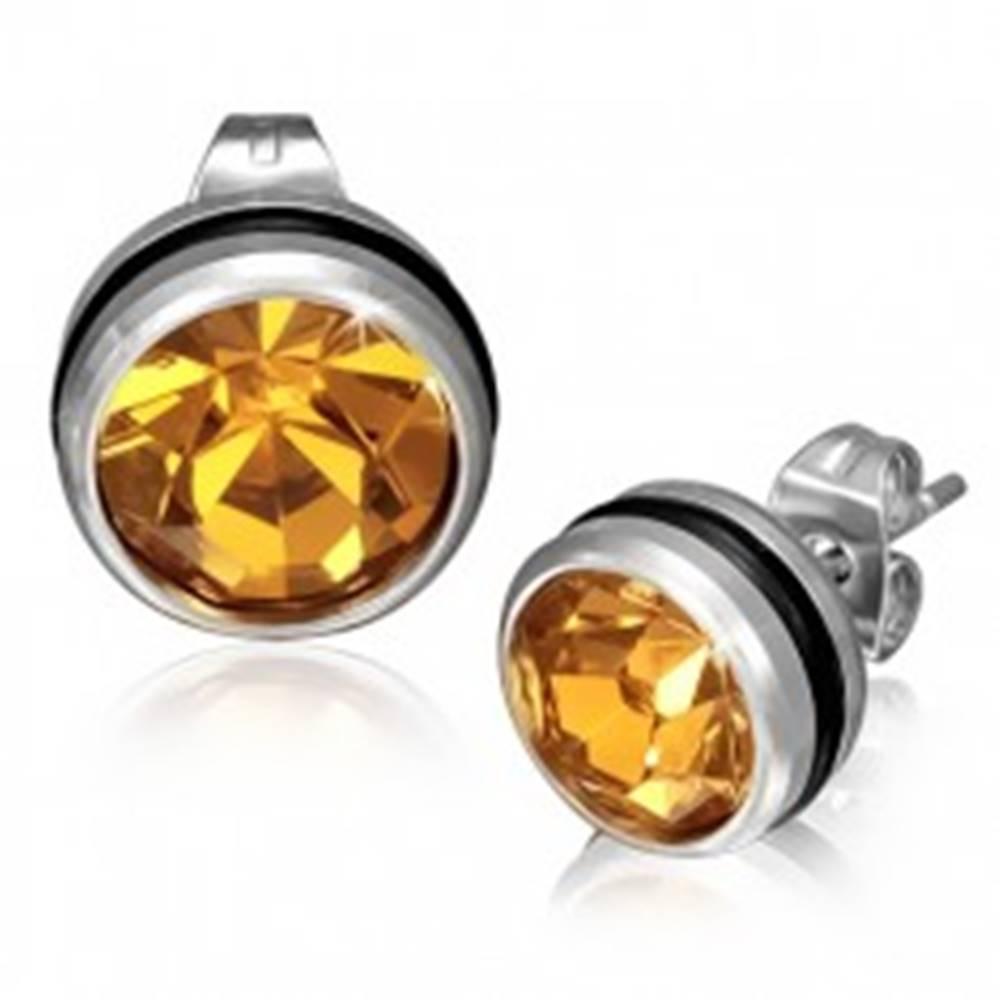 Šperky eshop Okrúhle náušnice z ocele, zlatožltý zirkón