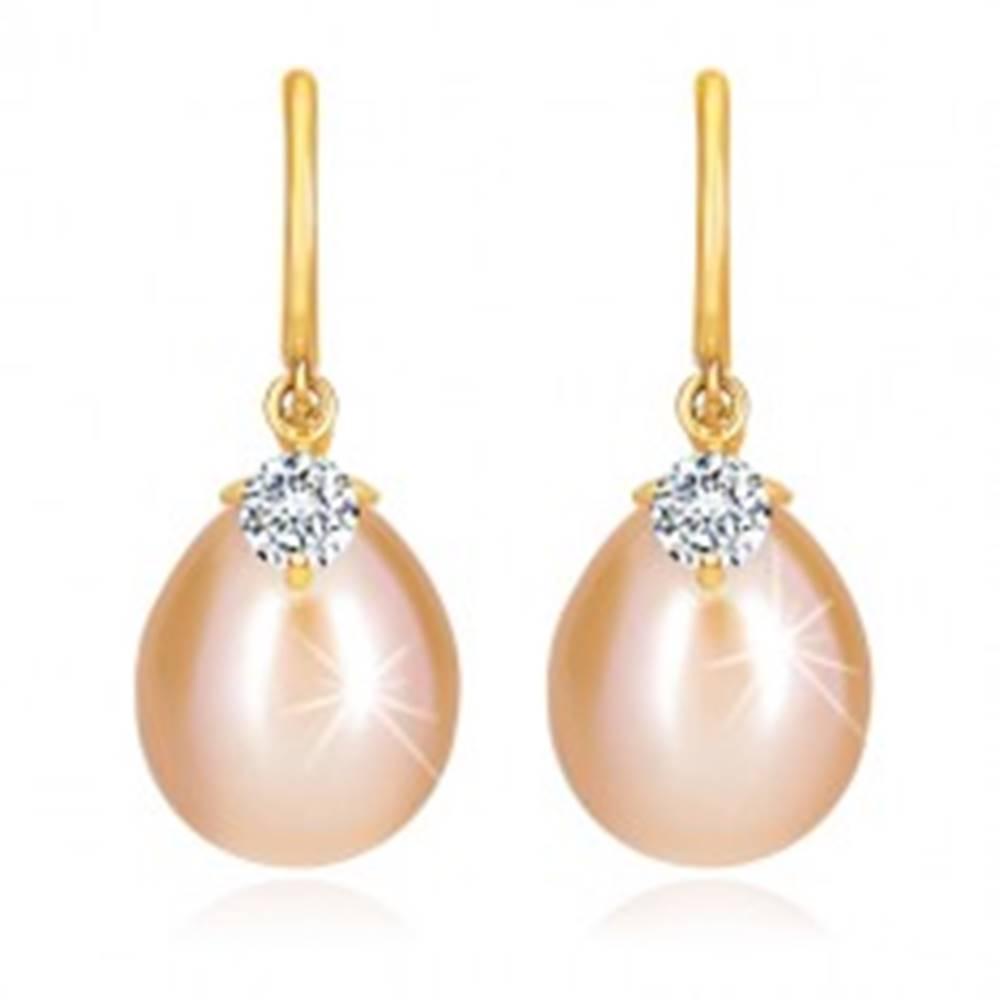 Šperky eshop Diamantové náušnice v žltom 14K zlate - lesklý oblúčik, oválna perla a briliant
