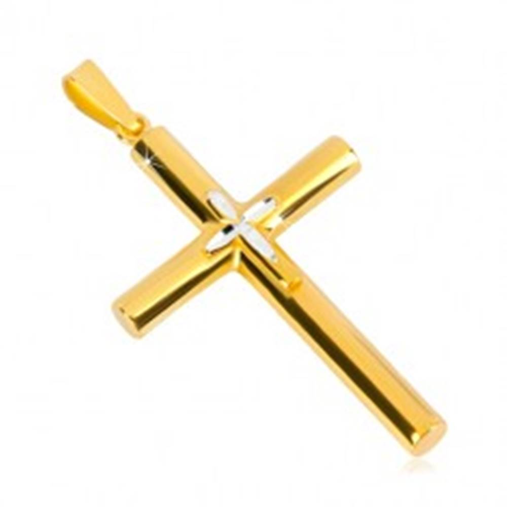 Šperky eshop Strieborný prívesok 925 - kríž zlatej farby, menší krížik uprostred, zrniečkové zárezy