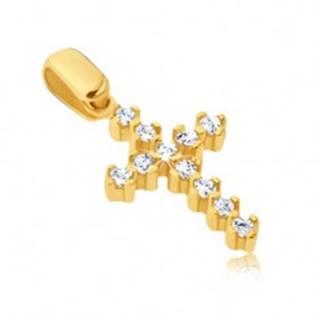 Prívesok zo zlata 14K - trblietavý krížik s vyčnievajúcimi paličkami