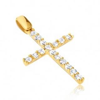 Prívesok zo zlata 14K - veľký kríž so zirkónmi s tenkými paličkami