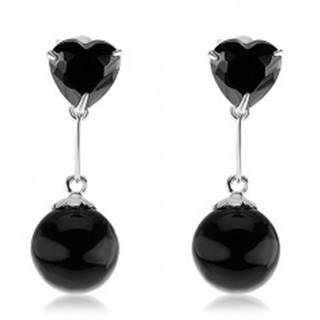 Strieborné 925 náušnice, zirkónové srdce a guľatá perla v čiernej farbe