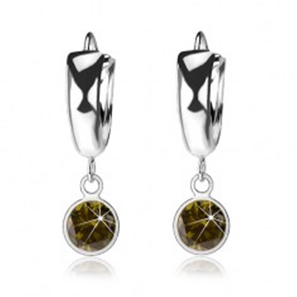 Šperky eshop Náušnice zo striebra 925, lesklý hladký krúžok, tmavozelený zirkón