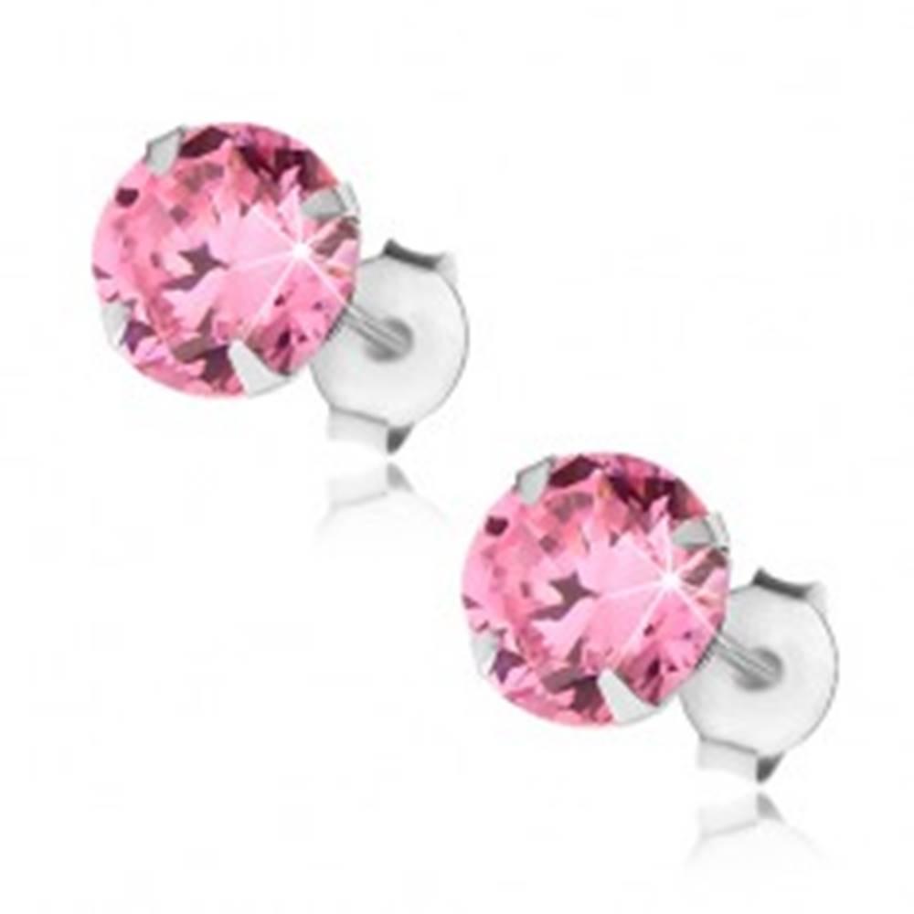 Šperky eshop Náušnice zo striebra 925, ružový okrúhly zirkón, puzetové zapínanie, 7 mm