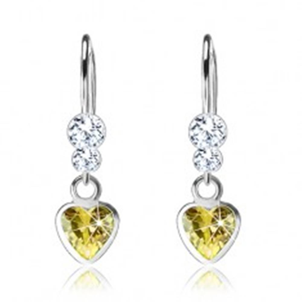 Šperky eshop Náušnice zo striebra 925, zirkónové srdce, dva číre krištáliky Swarovski