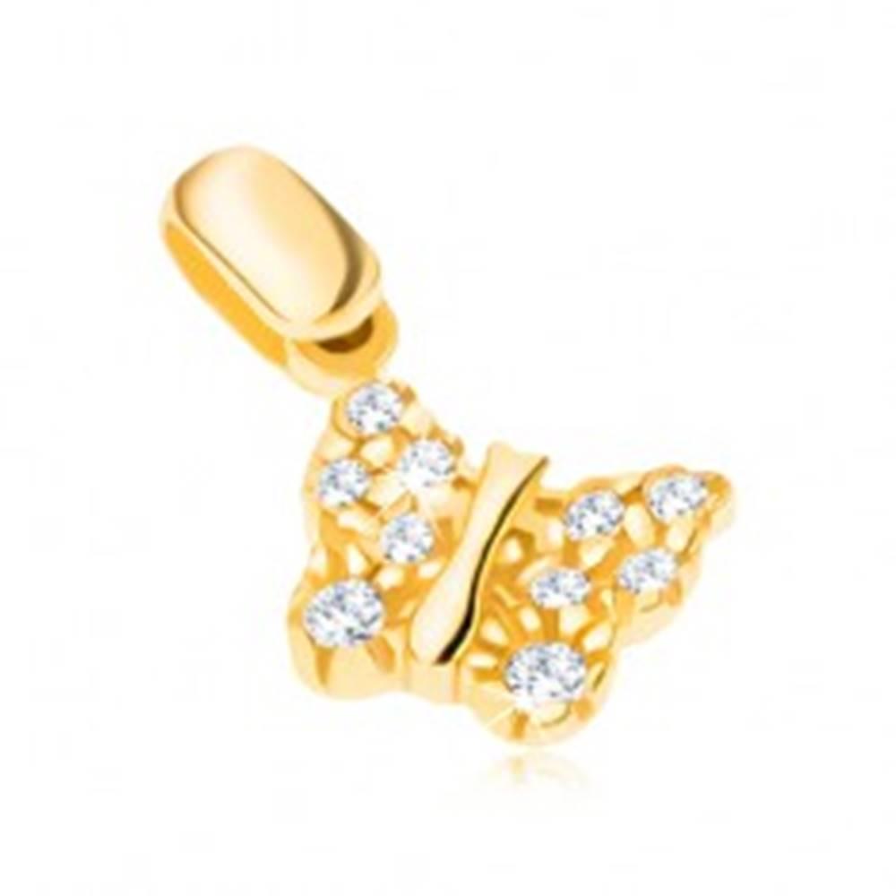 Šperky eshop Prívesok zo 14K zlata - motýlik so štruktúrovanými krídlami a zirkónmi