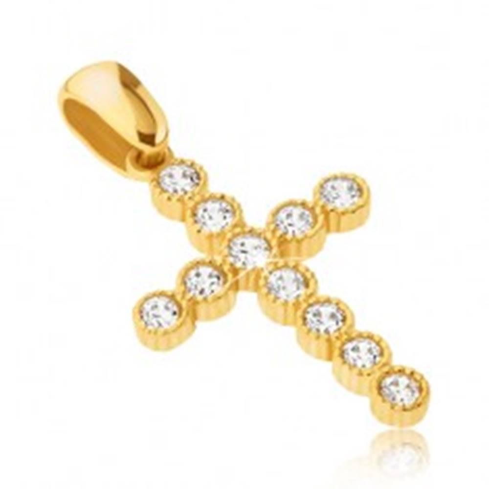 Šperky eshop Prívesok zo 14K zlata - veľký kríž so zirkónmi v kruhových objímkach