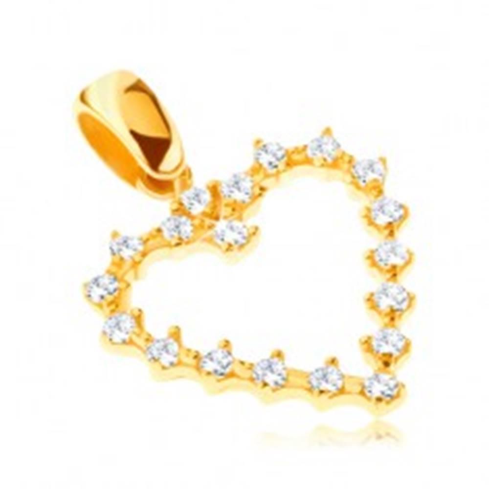 Šperky eshop Prívesok zo zlata 14K - ozubené trblietavé srdiečko so zirkónmi