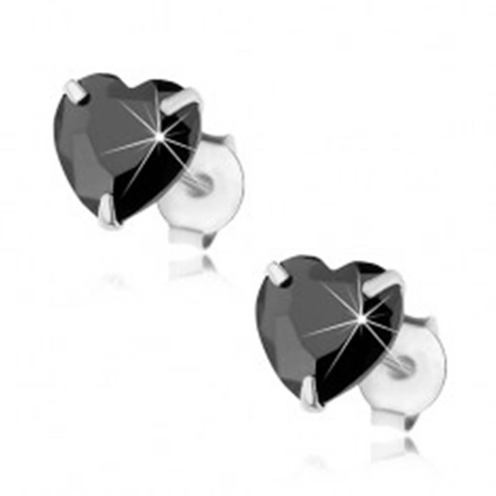 Šperky eshop Puzetové náušnice, striebro 925, čierny brúsený zirkón - srdiečko