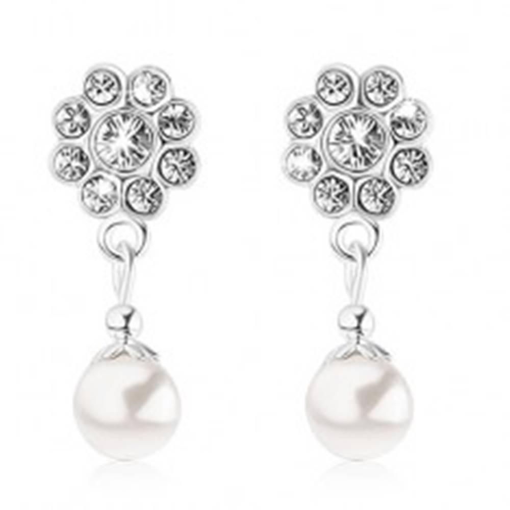 Šperky eshop Puzetové náušnice, striebro 925, kvietok z krištáľov Swarovski, biela perlička