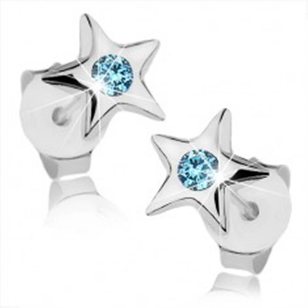 Šperky eshop Strieborné 925 náušnice, lesklá päťcípa hviezdička, svetlomodrý krištálik