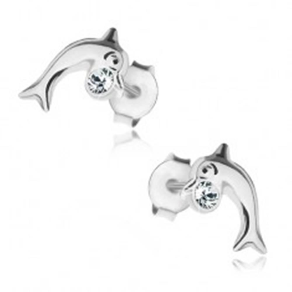 Šperky eshop Strieborné 925 náušnice, lesklý delfínik, okrúhly zirkón čírej farby