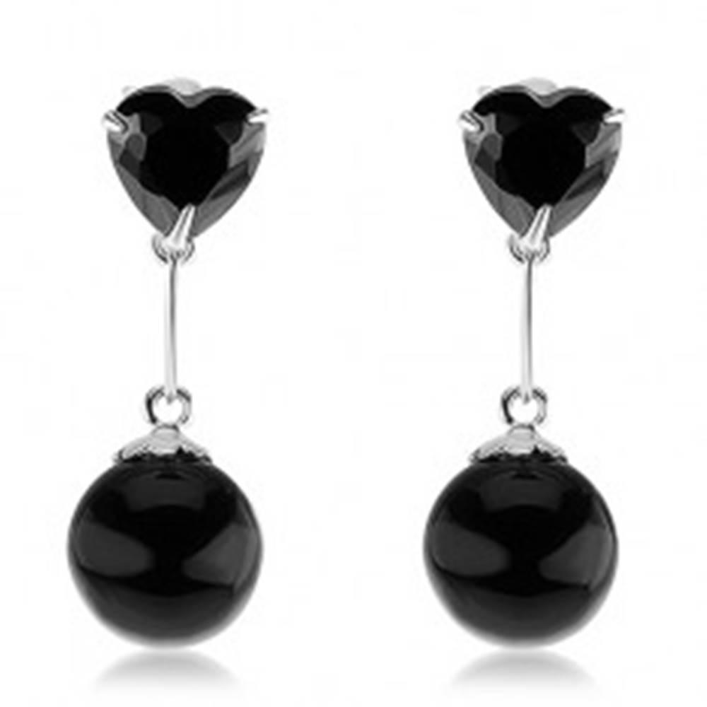 Šperky eshop Strieborné 925 náušnice, zirkónové srdce a guľatá perla v čiernej farbe