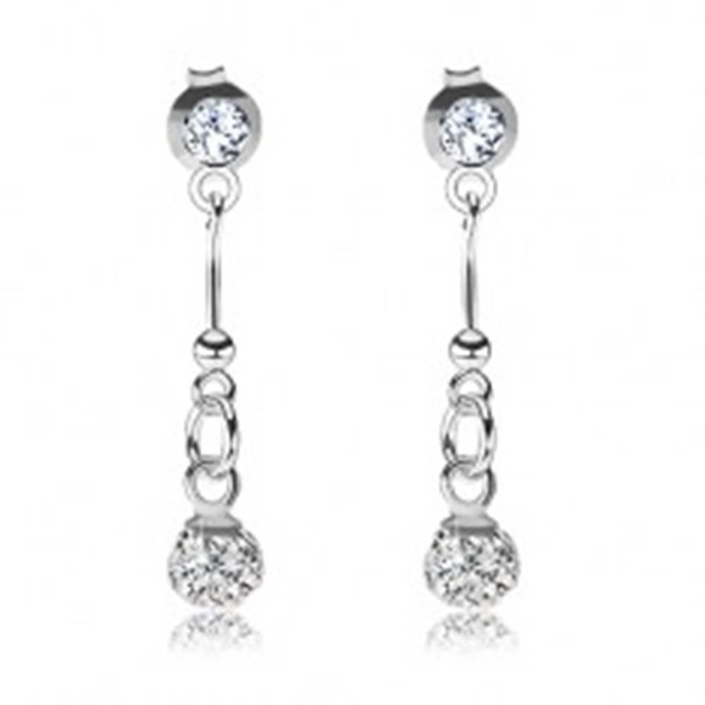 Šperky eshop Strieborné náušnice 925, číry okrúhly krištálik Swarovski, trblietavá guľôčka