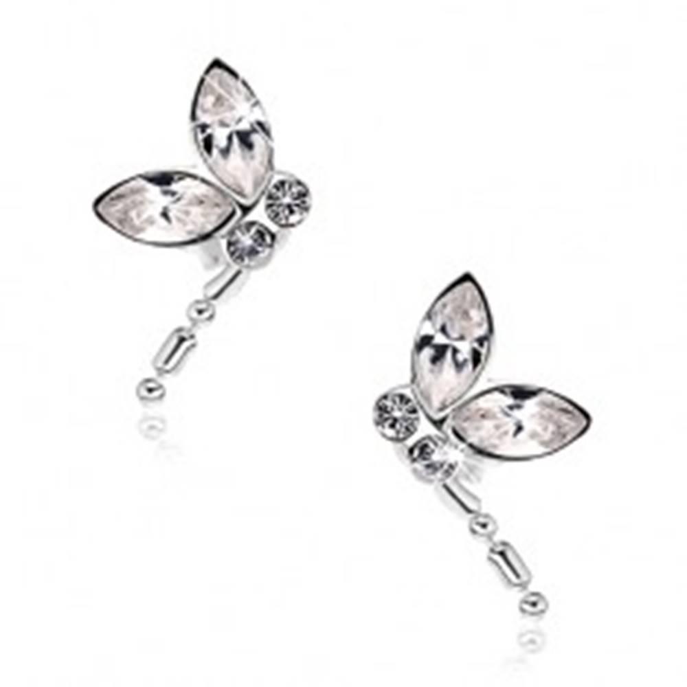 Šperky eshop Strieborné náušnice 925, letiaca vážka, číre krištále Swarovski, visiaci chvost