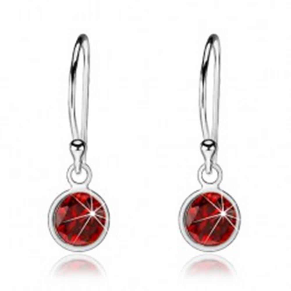 Šperky eshop Strieborné náušnice 925, visiaci okrúhly zirkón červenej farby, háčiky